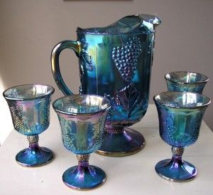 Carnival Glass. I have the pitcher for sale for $50 :): Carnival Glass, Vintage Carnivals, China Cabinets, Carnivals Glassware, Cobalt Blue, Carnivals Glasses, Glasses Sets, Indiana Glasses, Glasses Pitchers