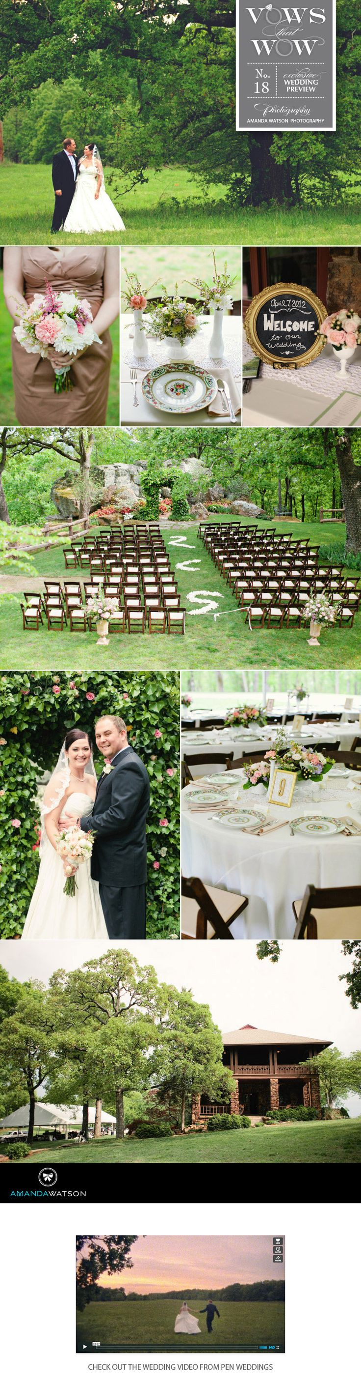 This vintage outdoor wedding captured by Amanda Watson Photography at Skelly Lodge.