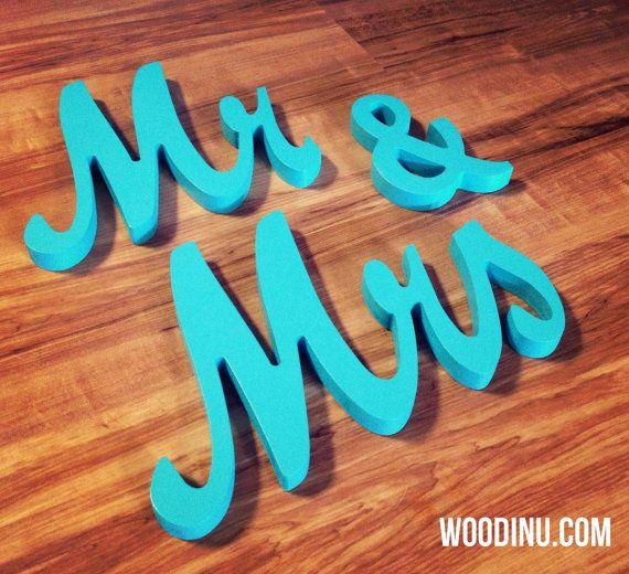 Turchese Mr & Mrs Wedding segni turchese Mr e di WoodinYouSigns