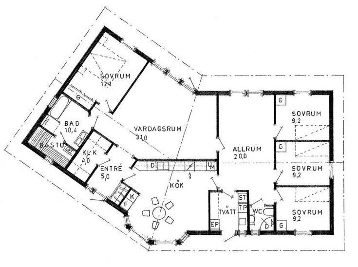Ett prisvärt 1-planhus med stora variationsmöjligheter. Vinkelhus som skapar en trivsam innergård och bra ytor utvändigt. Bad med bastu och stort föräldrasovrum. Detta hus har hela 4sovrum förutom allrum, kök bad, wc etc. Planlösningen och stilen kan varieras och rummen ändras i storlek och omfattning. en variant finns här. 159kvm Klassisk