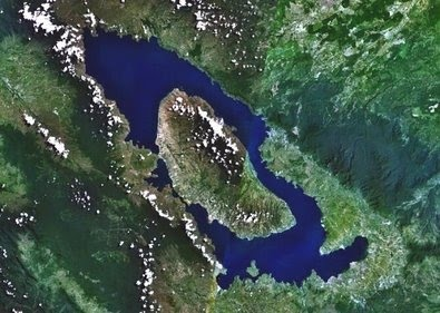Toba caldera... mega volcano - also largest island in a lake on an island - Sumatra