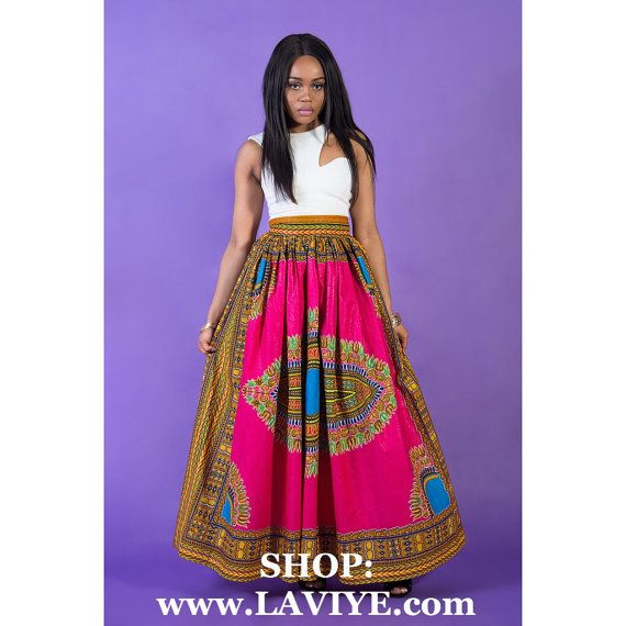 Pink Angelina dashiki maxi skirt, African print skirt for women, Ankara skirt, handmade skirt, long skirt, print skirt, African skirt, color