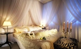 romantic bedroom, bedroom, candles, flowers, romantic, warm light, white courtains