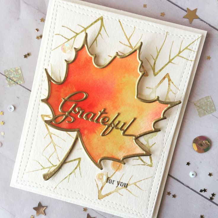 HLS October watercolor Challenge #handmadecards #hls #watercolor #papercraft #papertreyink #mapleleaf #golden #embossing #fall #autumn