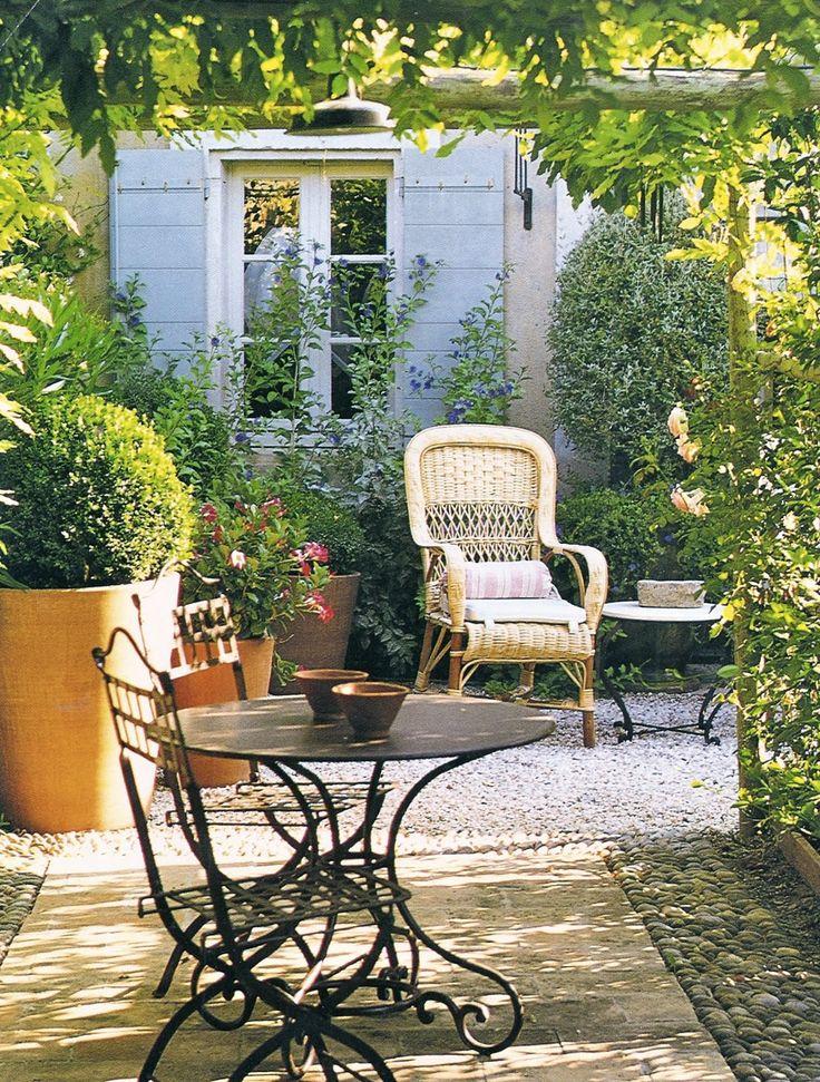 Sunny garden patio in Provence, France