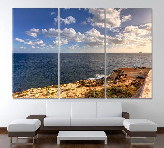 Sea Wall Art Ocean Canvas Print Seascape Home Decor Malta Lover Gift Ocean Canvas Sea Wall Art Canvas Prints