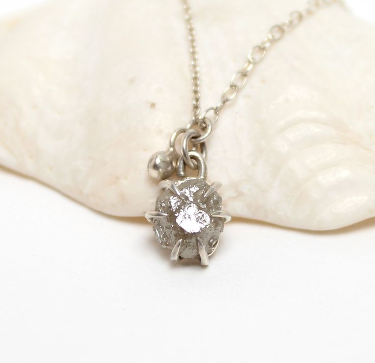 Tamara Gomez - Claw set 2ct rough diamond necklace, sterling silver. #roughdiamonds