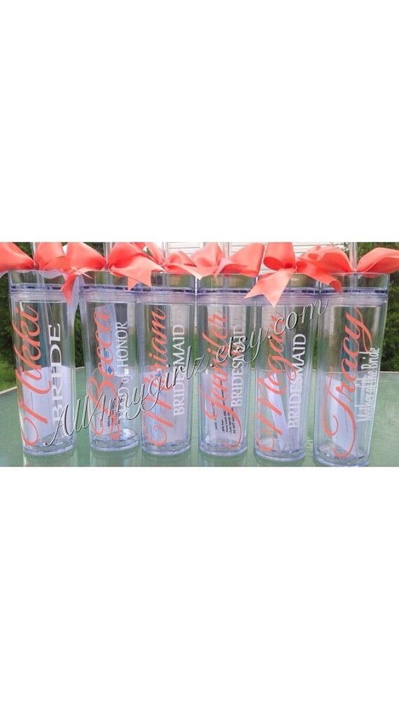 Set of 7 Tall skinny personalized tumbler wedding by all4mygirlz, $84.00