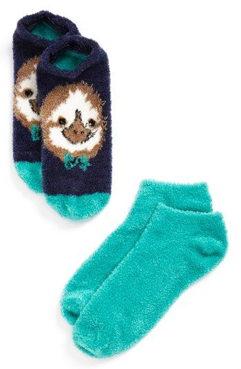 BP. Low Cut Fluffy Socks (Set of 2) (Juniors) | Nordstrom