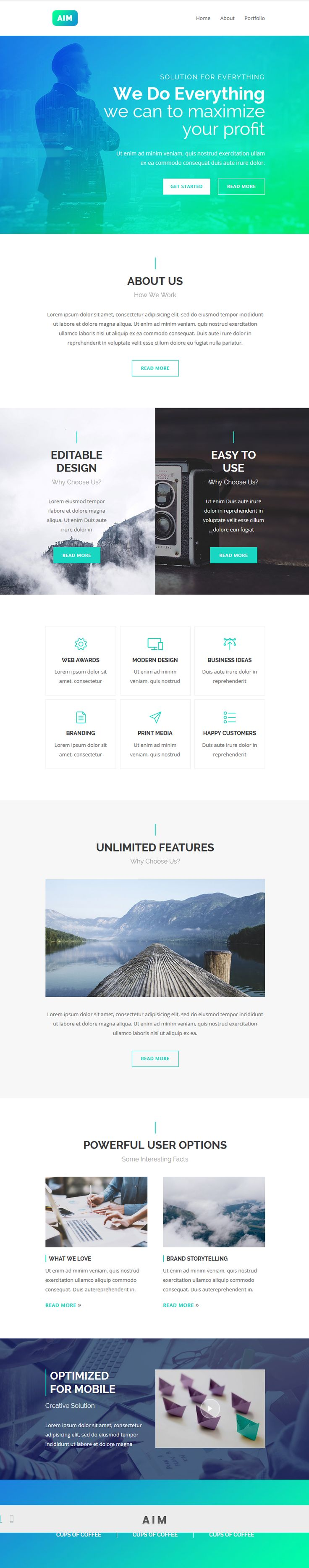 It is created in a modern and clean design. This is a good tool for your business to tell about themselves and present their product in the best possible way.  The Email builder isn't included in download package. It is accessible via the link which is included to the package.