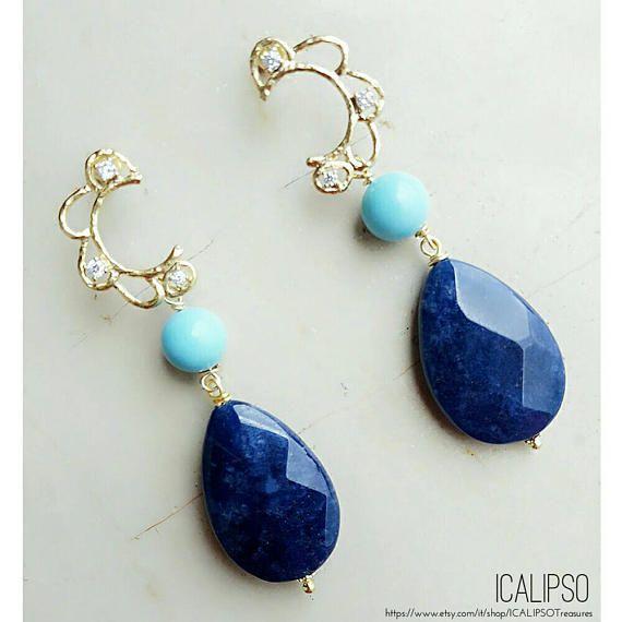 Guarda questo articolo nel mio negozio Etsy https://www.etsy.com/it/listing/512903086/orecchini-blu-penzolare-orecchini