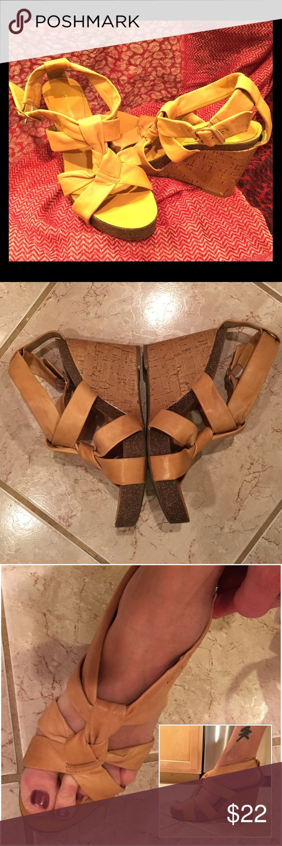"BCBGeneration Mustard Leather & Cork Wedge Sandals Lovely BCBGeneration sandals with a very soft, supple genuine leather upper and a cork wedge. Mustard yellow in color (2nd and 3rd photos truest to color). Size 7.5B, style ""Talina"". Excellent condition with a few very minor signs of wear. BCBGeneration Shoes Wedges"