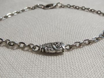 Tiny Owl Charm Bracelet - Silver Tone Chain - So Cute and Dainty - Gift Under 10 - Ready to Ship B018