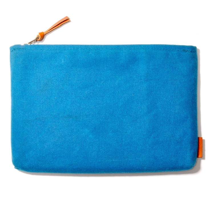 Waxed Canvas Clutch Turquoise by The Good Flock