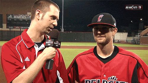To college baseball bros… | 21 Reasons It Ain't Easy Being A Sideline Reporter