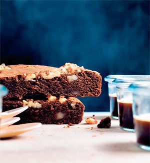 Brownies med valnødder og mokka