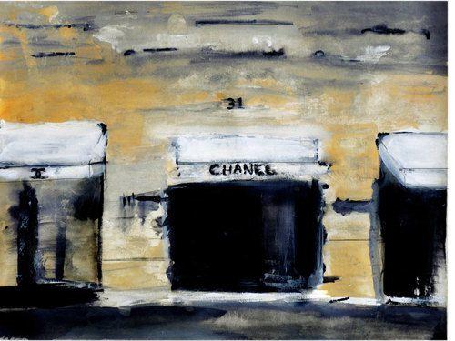 Leigh Viner: Scene Watercolor, Illustrations Art, Leigh Viners, Art Prints, Paris Street, Chanel Paris, Rue Chanel, Chanel Watercolor, Fashion Illustrations