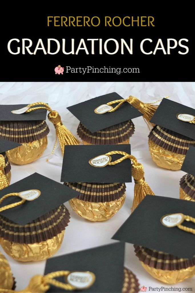 Ferrero Rocher Candy Graduation Caps, Cute Candy Graduation Favors, DIY Grad Favors, Best Graduation Favors Dessert Treat, Best Graduation Food, Best Gift