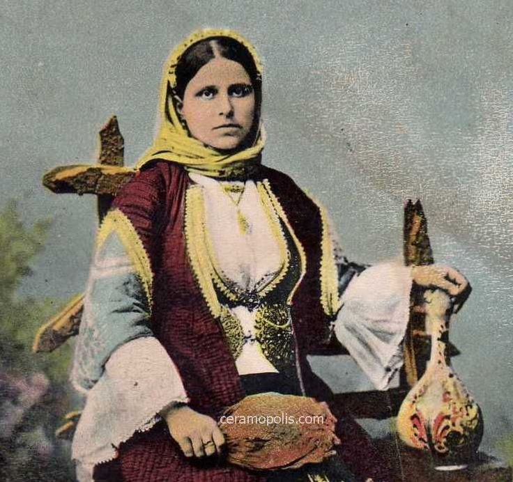 Woman from Almiros (Thessaly Greece) with a Canakkale Pitcher