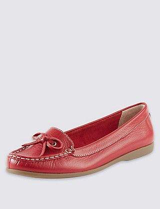Leather Boat Shoes   M&S