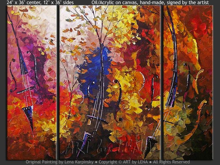 """""""Cello Forest"""" - Original Music Art by Lena Karpinsky, http://www.artbylena.com/original-painting/20946/cello-forest.html"""