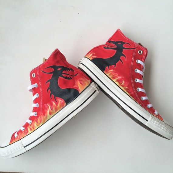 Dragon Silhouette and Flames Custom Converse by IntellexualDesign