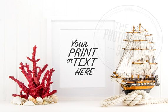 Styled Stock Photography / Beach, Seashells, Ocean, Red, Coral, Rope, Sail Boat, Sea Ship, Nautical / Blank Frame / Empty Frame / BN007