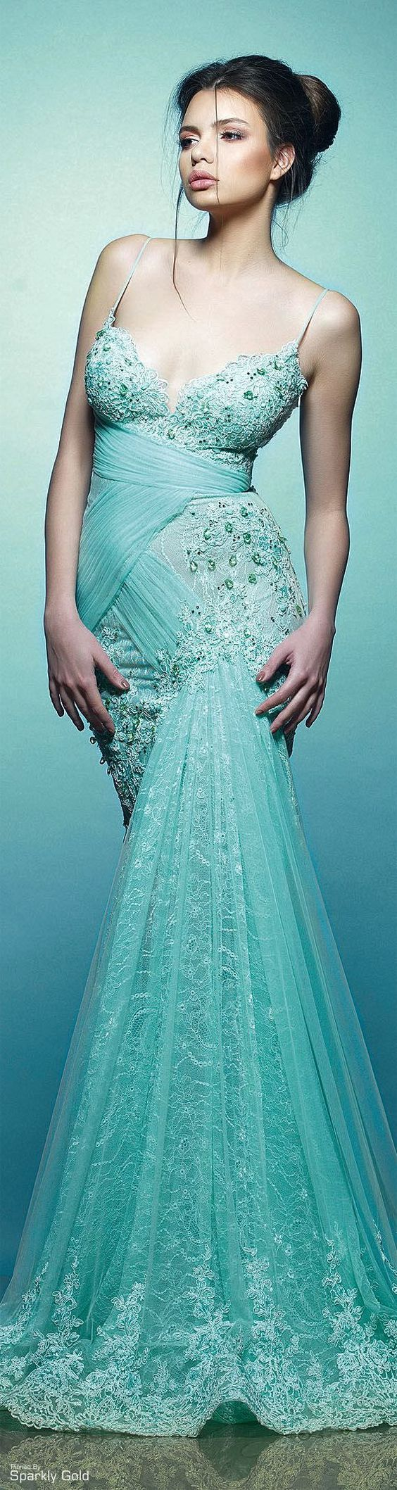 cyan maxi dress Saiid Kobeisy S/S 2015: @roressclothes closet ideas women fashion outfit clothing style