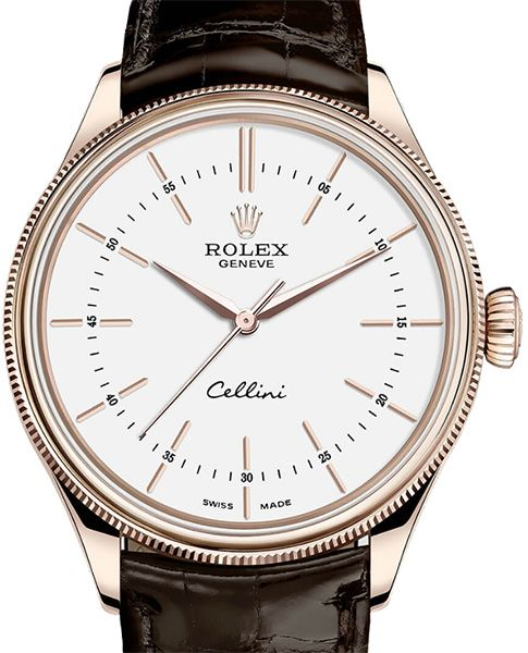 Rolex 50505 white lacquer dial Cellini Time Everose Gold. #rolex