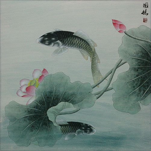 chinese paintings | Fish and Lotus Flower - Chinese Painting - Asian Koi Fish Paintings ...