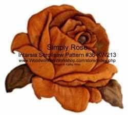 36-KW213 - Rose Intarsia Woodworking Pattern