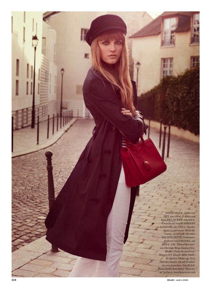 chic style vlada roslyakova goes parisian for elle germany inspiration pinterest. Black Bedroom Furniture Sets. Home Design Ideas