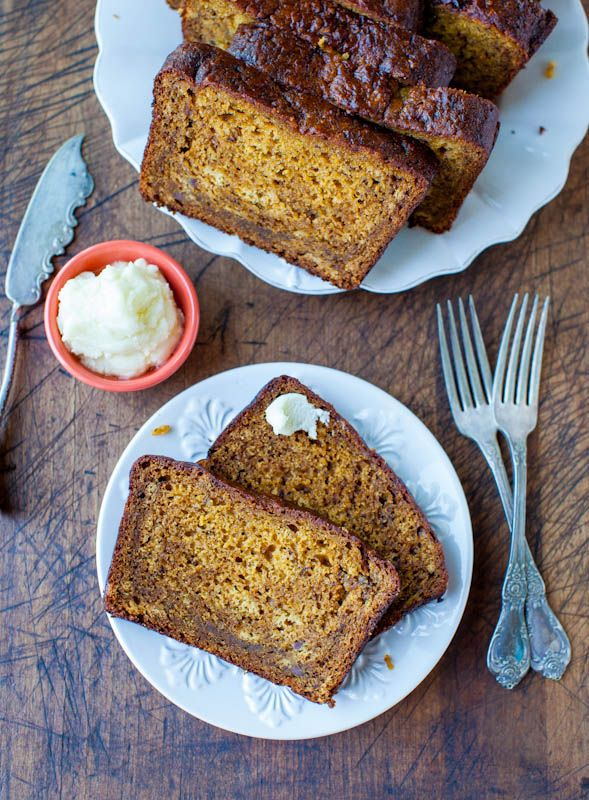 Pumpkin Banana Bread with Browned Butter Cream Cheese Frosting