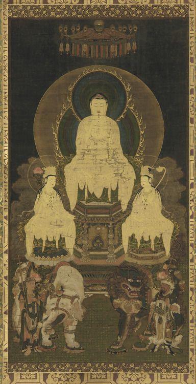 Buddhist triad: Sakya, Manjusri and Samantabhadra. 16th century. Kose Arishige. Japanese, Muromachi period.