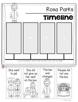 Rosa Parks {Timeline} for Kindergarten and First Grade Soc