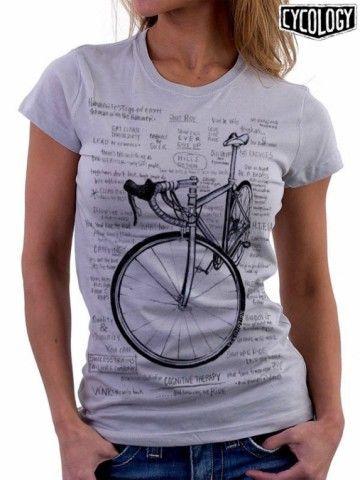 Cognitive Therapy is dé bestseller van Cycology. Dit prachtige t-shirt valt op door de print met een handgetekende racefiets omringd door diverse motiverende teksten en kreten voor de fanatieke fietsster en wielrenster. Cognitive Therapy... and tomorrow, we RIDE.