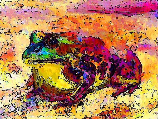 Colourful Frog is a modified photograph of the acrylic on canvas painting by Stanley Funk.  Details:  http://stanley-funk.artistwebsites.com/featured/colourful-frog-stanley-funk.html