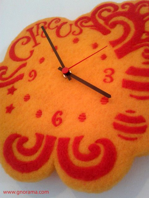 """Tick tock tick tock ~ Preview of """"Circus"""", our unique new clock in felted wool! #gnorama #clock #feltedwool"""