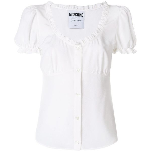 Moschino ruffled corset blouse ($650) ❤ liked on Polyvore featuring tops, blouses, white, white corset, silk ruffle blouse, white short sleeve top, white ruffle top and corset tops