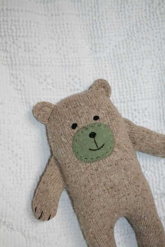 Upcycled Wool and Angora Sweater Little Wooly Bear Plush | http://stuffed-animals-lucius.blogspot.com