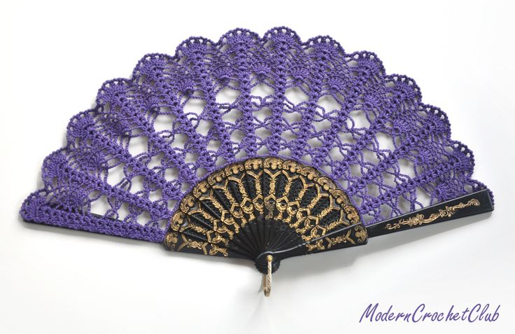 Purple crochet hand fan