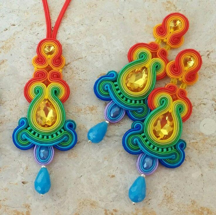 Soutache earrings, soutache pendant - Sabo Design