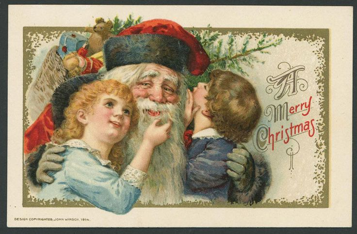 Winsch Christmas PC Cute Girl Touches Santa's Beard Boy Whispers | eBay