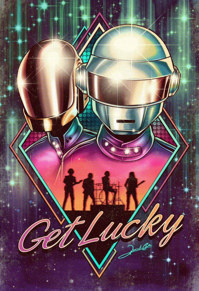 Ilustração da dupla francesa de música eletrônica Daft Punk. A arte é inspirada no sucesso Get Lucky, do álbum Random Access Memories (2013), que teve a participação de Pharrell Williams e Nile Rod…