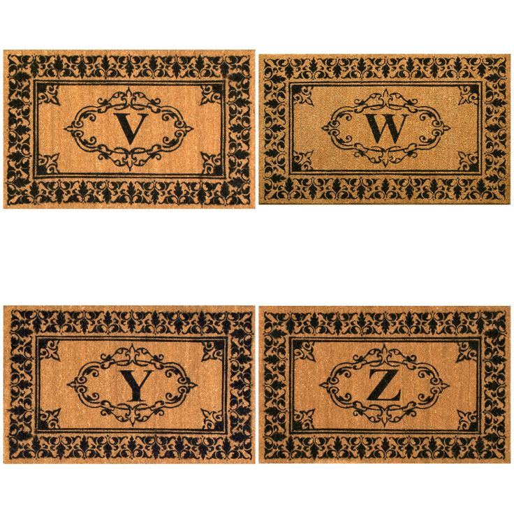nuLOOM Estate Monogrammed Welcome Door Mat (3' x 6') (Letter Z), Brown (Coir)