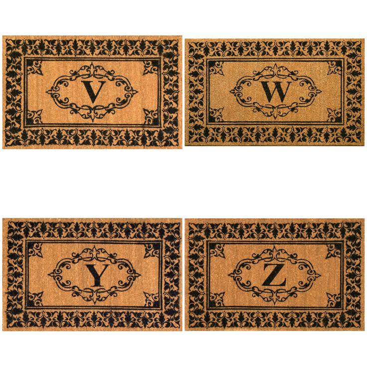 nuLOOM Estate Monogrammed Welcome Door Mat (2'6 x 4') (Letter W), Brown (Coir)