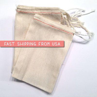100 bulk 3 x 5 Premium MUSLIN BAGS Drawstring Bags by savethedate