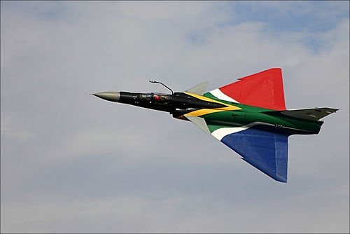 "Atlas Cheetah of the South African Air Force painted in the colours of the South African flag. Cheetah is a major upgrade of the Mirage III built by the Atlas Aircraft Co. of South Africa during the 80s (with some ""advices"" by Israeli technicians)"