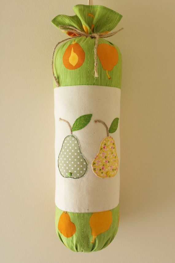 "Plastic Bag Holder Carrier bag Holder Dispenser Storage Bags Grocery Bags Tidy Fabric Handmade ""Pears"""