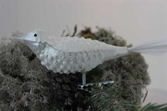 Fugl m/hvitt glitter